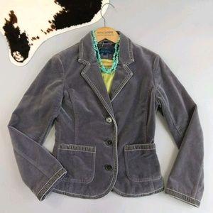 Boden size US 6 UK 8 gray stitched velvet blazer.